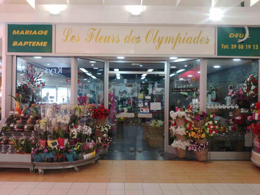 Fleurs de l'Olympe fleuriste Goussainville centre commercial Carrefour Gonesse Arnouville fleurs fraiches de qualité fleurs roses éternelles devanture