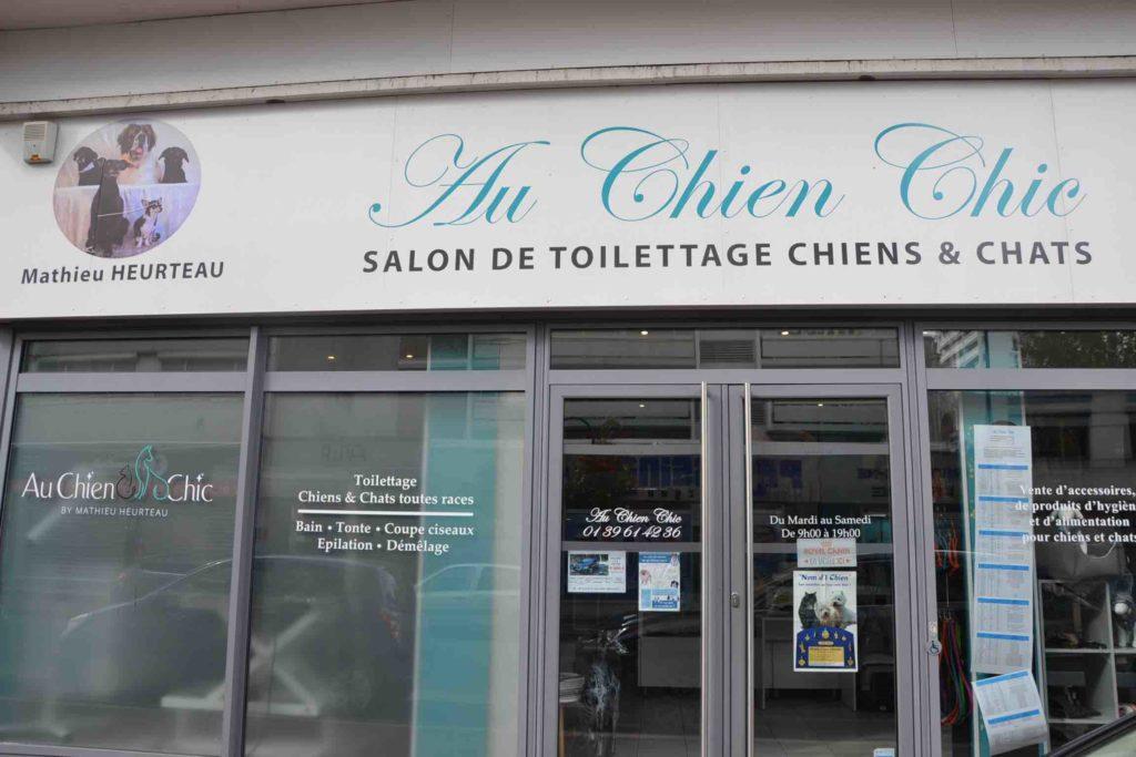 Au Chien Chic Salon de toilettage Argenteuil Toiletteur chiens chats rue de la poste prolongee devanture