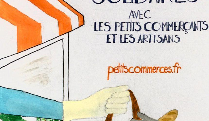 Solidaires avec les petits commerçants et les artisans ! Visuel de soutien face au coronavirus Petitscommerces